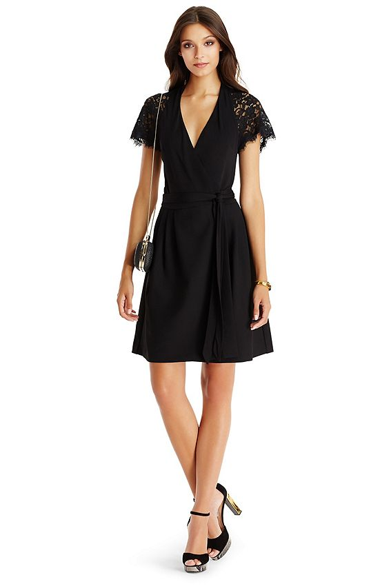 The DVF Elizabeth is an elegant new addition to the wrap dress family. This full-skirted wrap style features lace across the shoulders and cap sleeves for a festive yet sophisticated feel. True wrap style. Falls to mid-thigh.