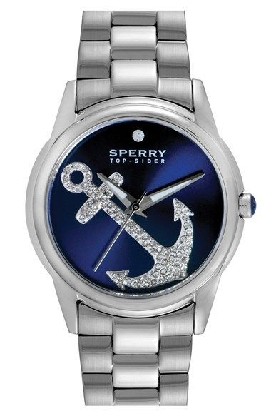Free shipping and returns on Sperry Top-Sider® 'Audrey' Pavé Anchor Bracelet Watch, 38mm at Nordstrom.com. Sparkling crystals illuminate the playful anchor on the pretty sunray dial of this nautical bracelet watch.
