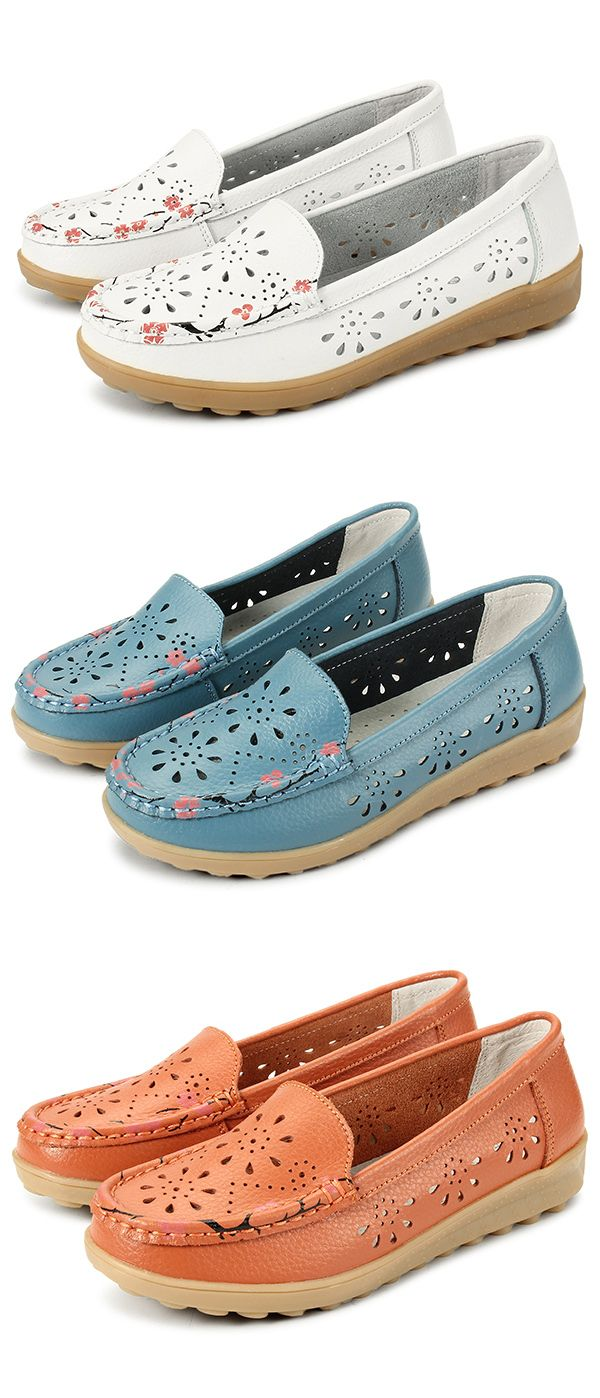 US$17.15 Socofy Little Flower Breathable Slip On Flat Leather Hollow Out Loafers_Women shoes_Floral Flats