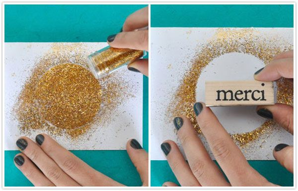 diy thank you card gold glitter