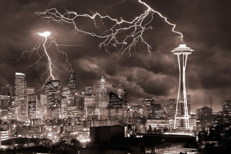 Lightning Hitting the Seattle Space Needle Photo and caption by Clane Gessel @Smithsonian Magazine