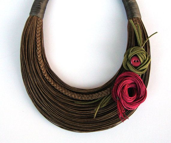 Brown+Olive+and+Fuchsia+Floral+Fiber+Statement+by+superlittlecute,+$59.00