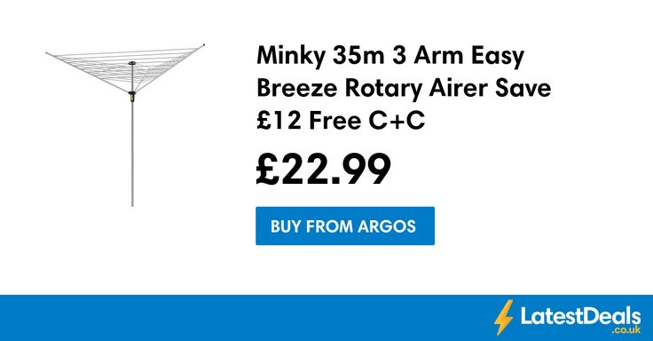 Minky 35m 3 Arm Easy Breeze Rotary Airer Save £12 Free C+C, £22.99 at Argos