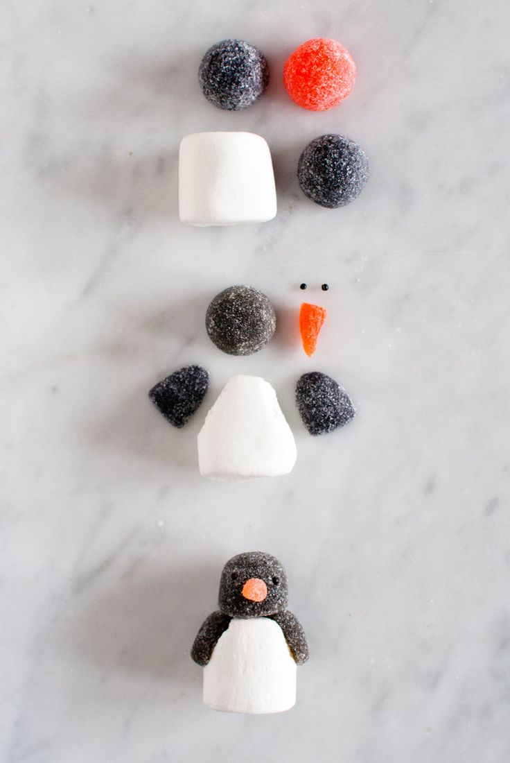 Marshmallow and gumdrop penguin how-to from Candy Aisle Crafts by Jodi Levine