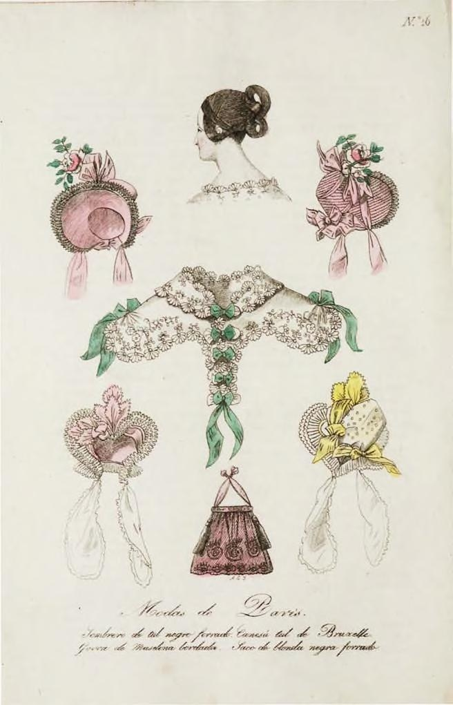 1833 fashion plate Modes de Paris, bonnets, hair style and lace pelerine w/ green ribbon