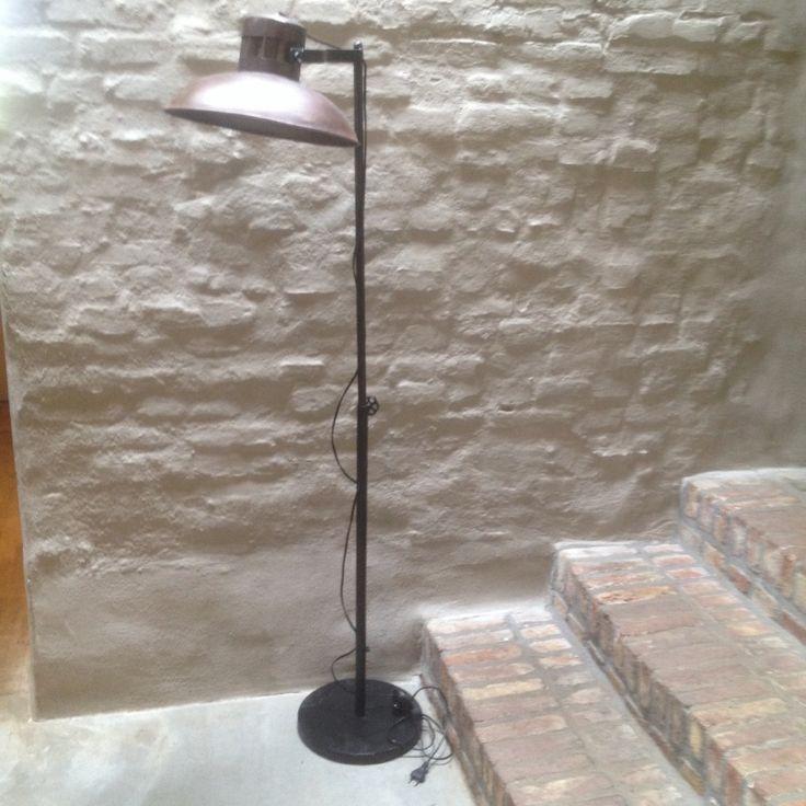 Stoere vloerlamp staande lamp bruin industrieel landelijk