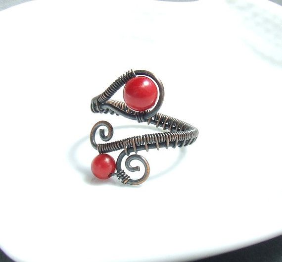 Red coral ring natural copper ring  wire by VeraNasfaJewelry, $24.00