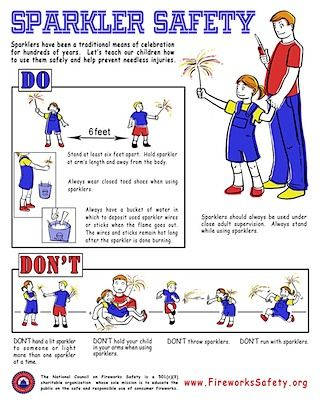 Sparkler Safety - In California fireworks are prohibited in most places. But, if you travel here's a few things to know on the proper handling of fireworks. http://epicfireworks.com/