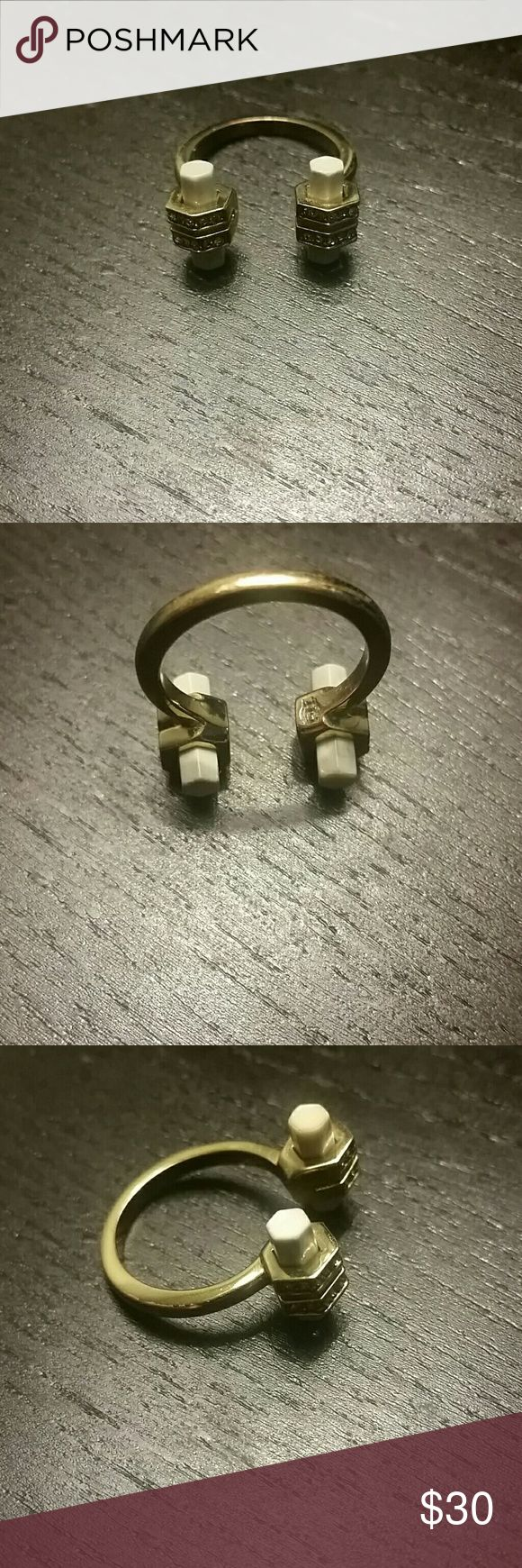Geometric open cuff ring Adjustable size approximately size 7/8 Slight discoloration from normal wear  Costume jewelry House of Harlow 1960 Jewelry Rings