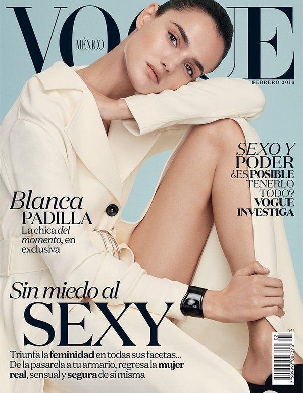 Blanca Padilla wears a minimal cream colored coat pose on Vogue Mexico Magazine February 2016 cover