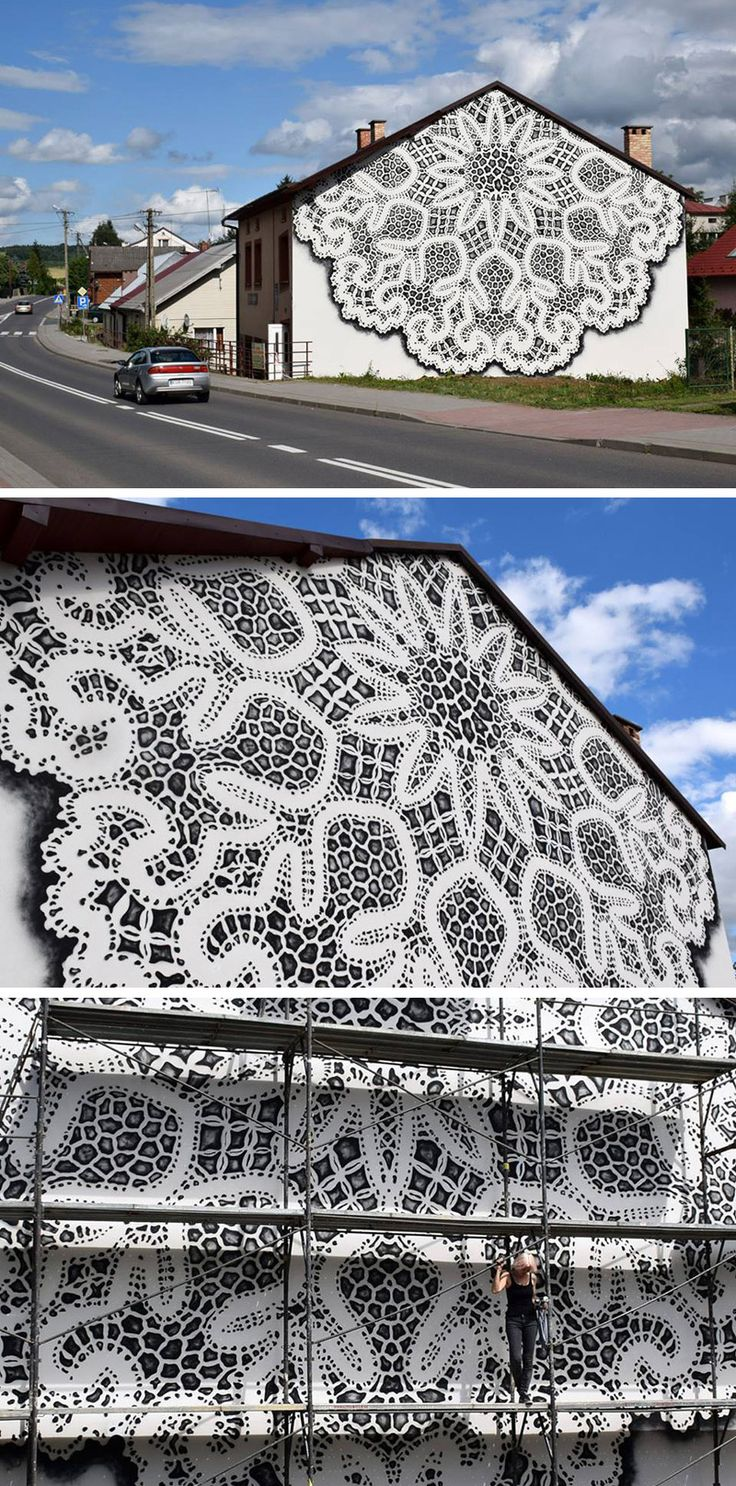 Street artist NeSpoon has recently transformed the wall of a building in Poland, by adding an intricate painting of traditional lace.