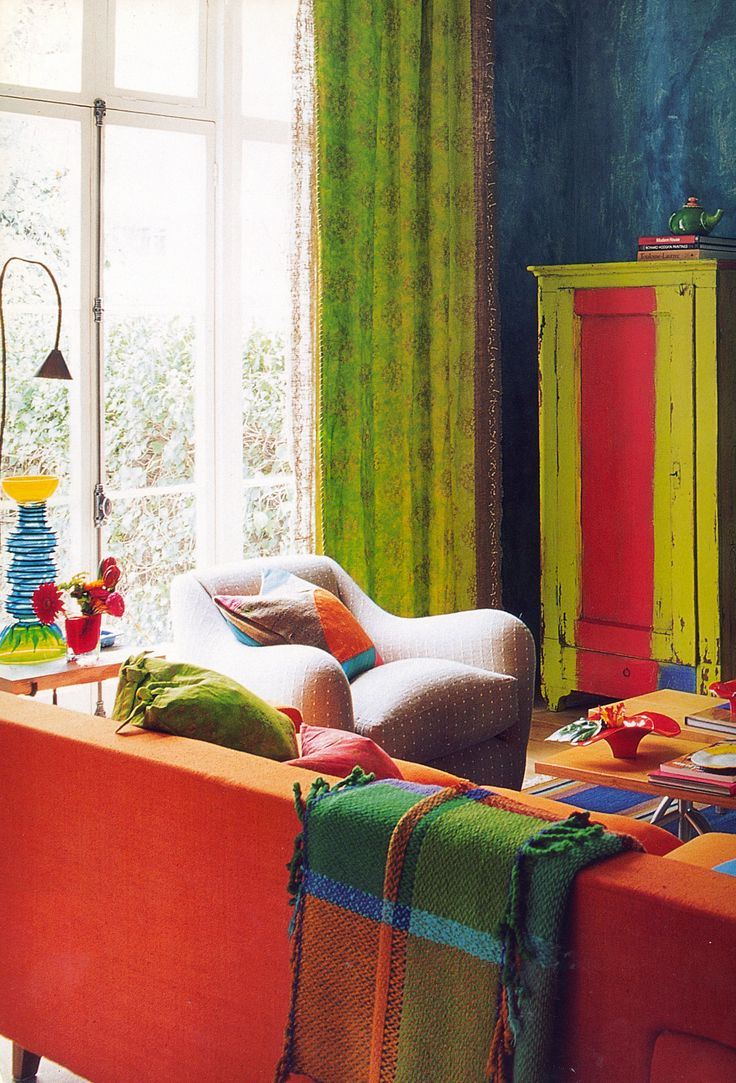 Tricia Guild is my kindred spirit in all matters relating to color and pattern I. This image is here living room in her London Townhouse.  featured in her book In Town.