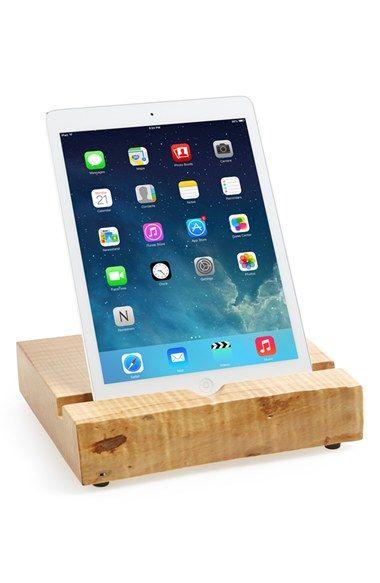 Natural wood iPad stand