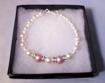 Elegante Swarovski rosa pulsera de perlas y de la madre - regalo de Dama de honor de piedra - turmalina - octubre - piedra pulsera pulsera de blanco