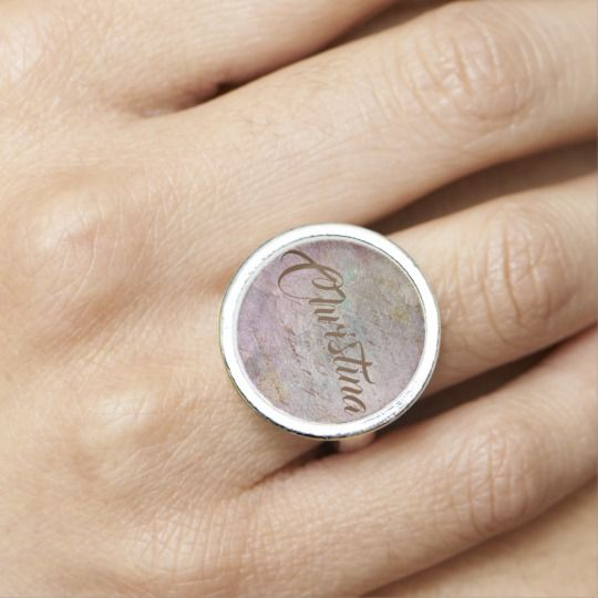 Vintage Love Letters Personalized Silver Ring