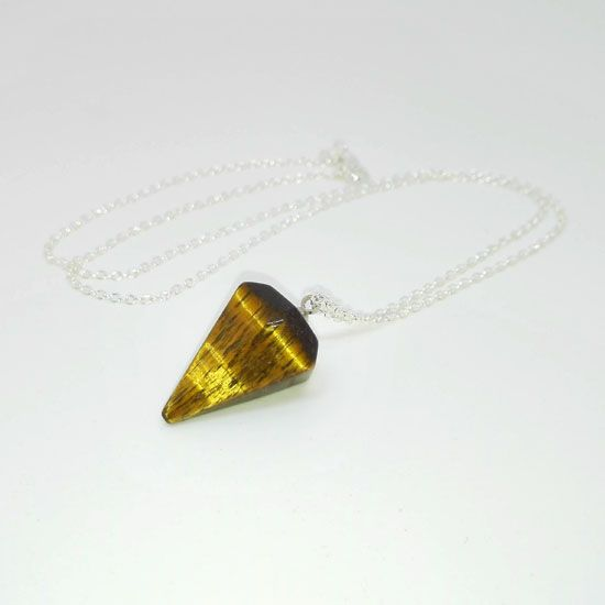 PENDANT TIGER EYE HEXAGON PENDULUM SILVER with Gemstone of Tiger Eye in hexagon pendulum shape 20 mm and Chain of Silver 925 | Crystal Pepper