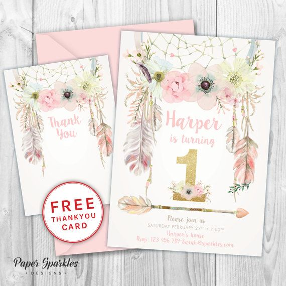 first birthday invitation dream catcher invitation glitter invitation first birthday invite baby girl boho invite 1st