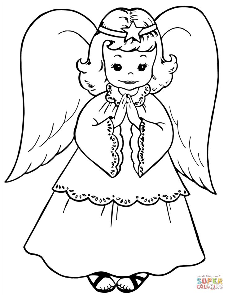 Cute Little Angel Coloring Page Free Printable Coloring