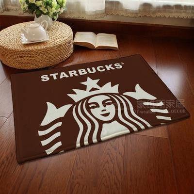 New doormat cartoon Starbucks Coffee series living room/bedroom carpet flannel anti-slip pad bath mats Super soft floor door mat in green or brown
