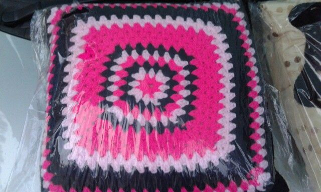 Pillow - black. Pink and bright pink