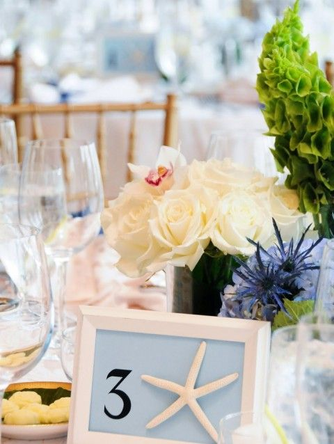 48 Creative Beach Wedding Table Numbers | HappyWedd.com