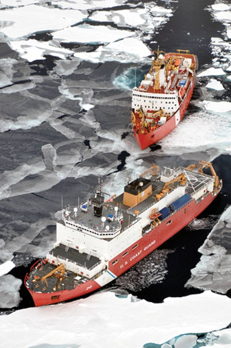Canadian Coast Guard Ship and a U.S. Coast Guard Cutter in the Arctic Ocean. USCG photo by Patrick Kelley.