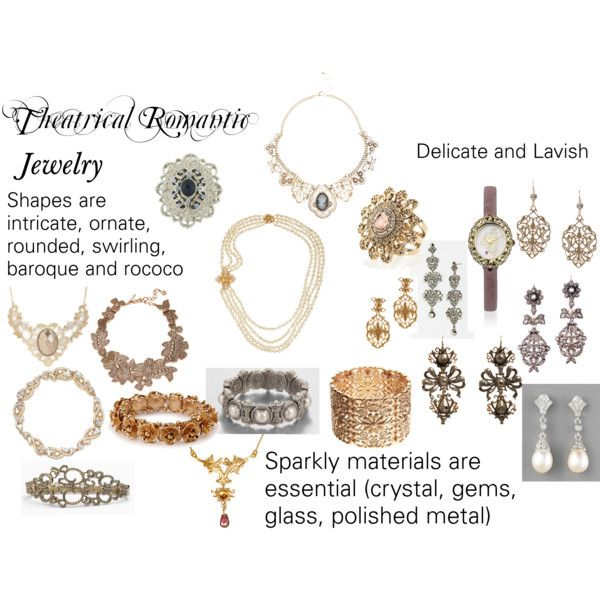 """Theatrical Romantic Jewelry"" by trueautumn on Polyvore - We must not wear very much JEWELRY, but we must never go without. We need the glamour and sophistication it brings. Our shapes should be intricate, round, rococo, baroque, and swirling. They should be sparkly even in the daytime. They should be a marriage of lavish and intricate. Pieces should be large and glittering!"