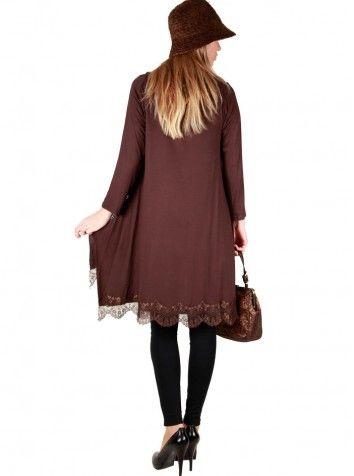 Bayan Dantelli Kahverengi Bluz Özel Tasarım