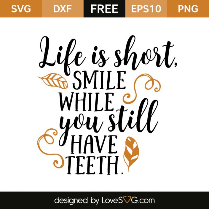 *** FREE SVG CUT FILE for Cricut, Silhouette and more *** Life is short, smile while you still have teeth
