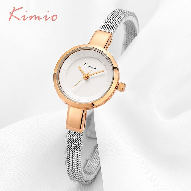 12.99$  Watch now - http://ali6pb.shopchina.info/1/go.php?t=32625543606 - KIMIO Small Round Dial Woven Mesh Band Quartz Women Watch Famous Luxury Brand 2017 Simple Casual Ladies Wrist Watches For Women  #magazine