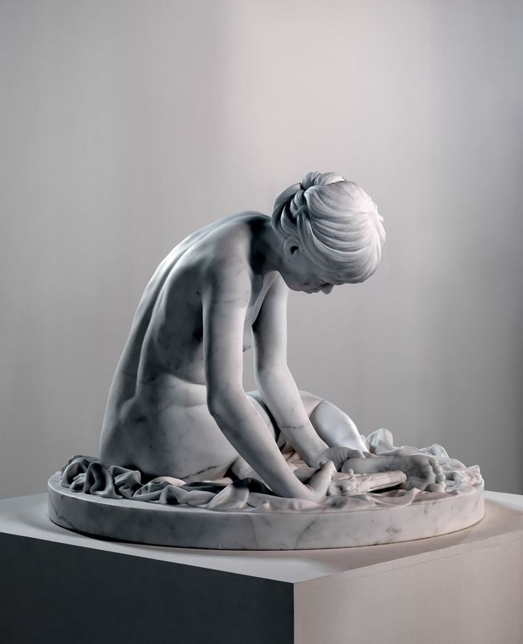 Thom Puckey - I.S. with Beretta 92 Semi-automatic (2011) in statuario marble. | collection museum Beelden aan Zee.
