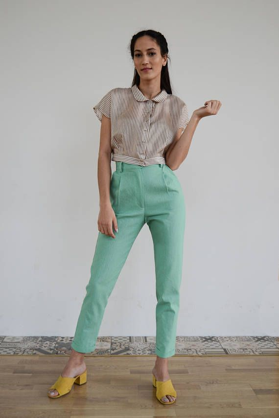 High Waisted Pants / Vintage Pants/ Mint Pants/ High Waist Trousers/ Vintage Trousers / High Waist Pants/High waisted  trousers/ Linen Pants
