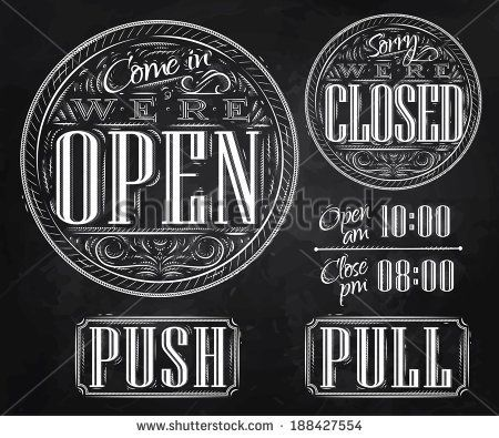 pointing hand vintage open closed sign - Google Search