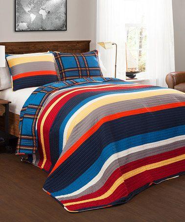 Another great find on #zulily! Blue & Red Cliveden Stripe Quilt Set #zulilyfinds