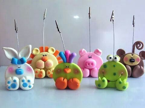 cute photo holders/notes polymer clay animals