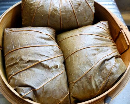 Cantonese Sticky Rice Wrapped in Lotus Leaves - I love eating these at Dim Sum.