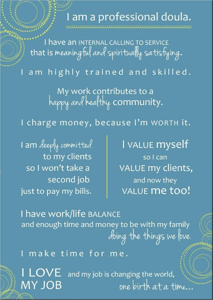 Doula Business Manifesto-What a great vision for doula work! @Marianne Glass Burchard Design Kulikov