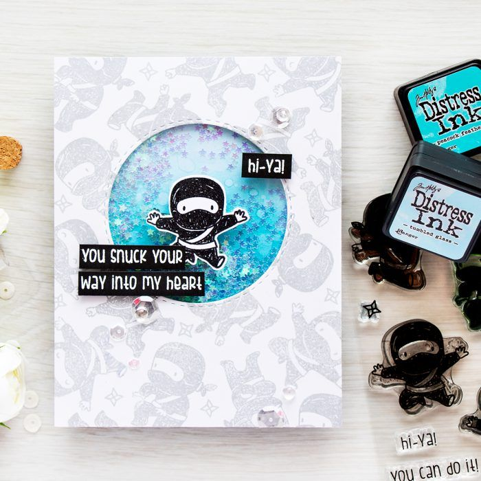 Simon Says Stamp   Tiny Ninjas You Snuck Your Way Into My Heart card   Masterpiece Box Release - Mama Elephant