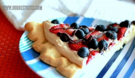 Made this Fruit Pizza frosting for our 24th BBQ, just used refrigerated cookie dough, strawberries, and kiwi.  So yummy!