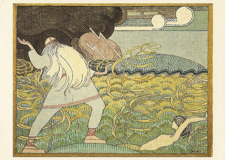 Joseph Alanen 1885-1920 - Väinämöinen laulaa Joukahaisen suohon. Tempera painting with a motif from Kalevala 1912-1913.