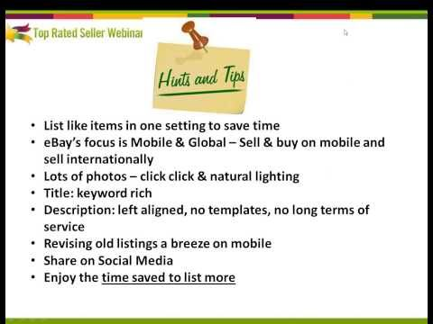 Great  youtube of webinar with Cindy Sorley done for Top Rated  Seller Webinars on #ebay mobile! from▶ eBay Mobile is Now! Listing and Selling on the Go - YouTube #IloveToBeSelling