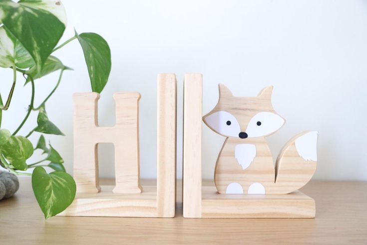 Timber fox bookend