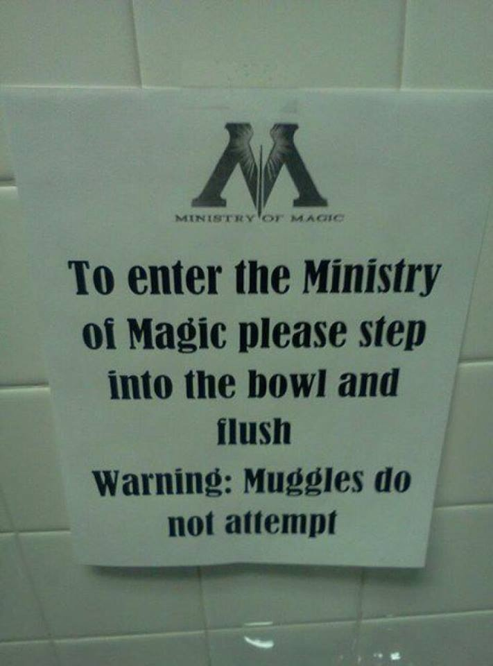 Haha... Next time we go to the mall we should hang some of these in the bathroom stalls. #prank #practicaljoke #harrypotter
