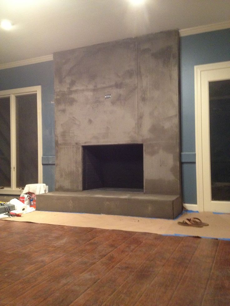 DIY Concrete Fireplace For Less Than 100 For The Home Concrete Fireplace Stucco Fireplace