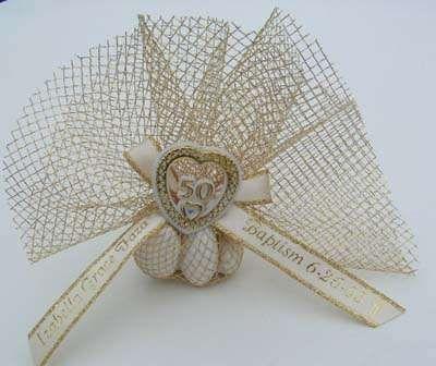 Italian Almond Wedding Favors | Fancy Italian Gold or Silver Tulle w/5 Jordan Almonds