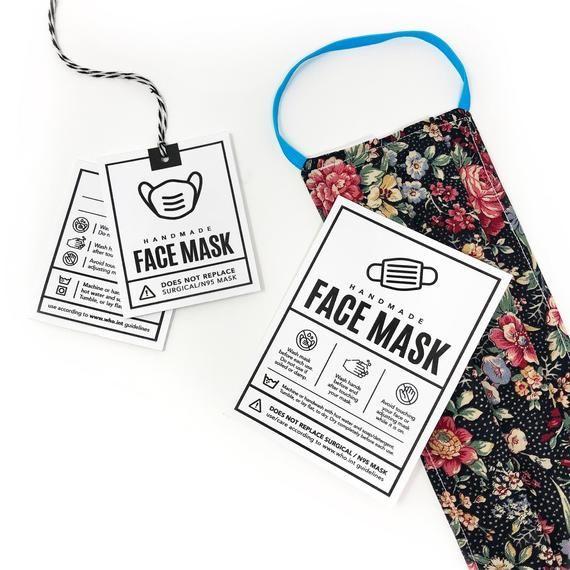 Printable Face Mask Tags Downloadable Pdf Diy Packaging Etsy Hang Tags Display Cards Mask