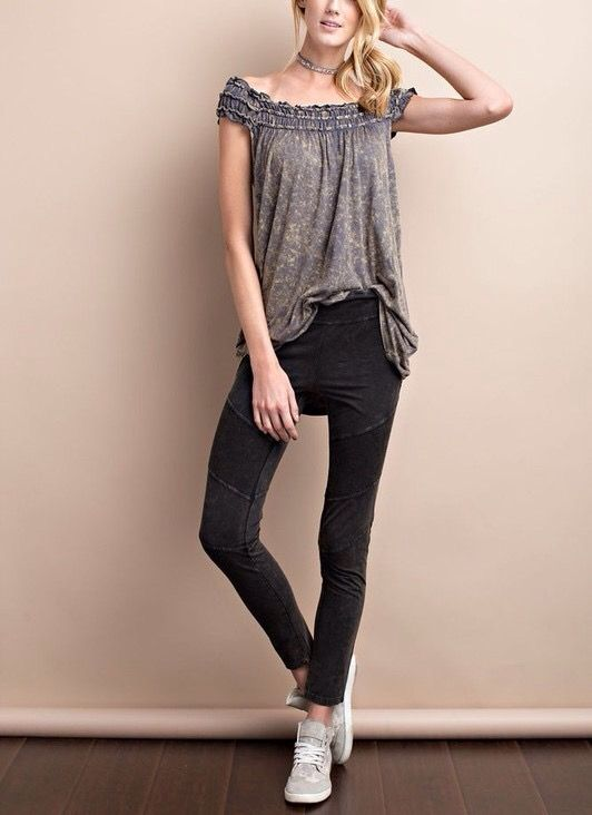 THIS ASH SUPER SOFT AND LIGHT WEIGHT OFF SHOULDER ELASTIC SHIRRING MINERAL WASHED KNIT TUNIC IS SO DREAMY!