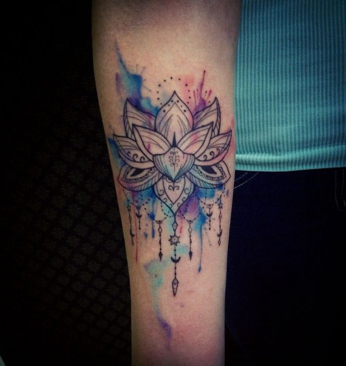 Wondrous Watercolor Lotus Tattoo On Hand Flower Tattoos Design ...