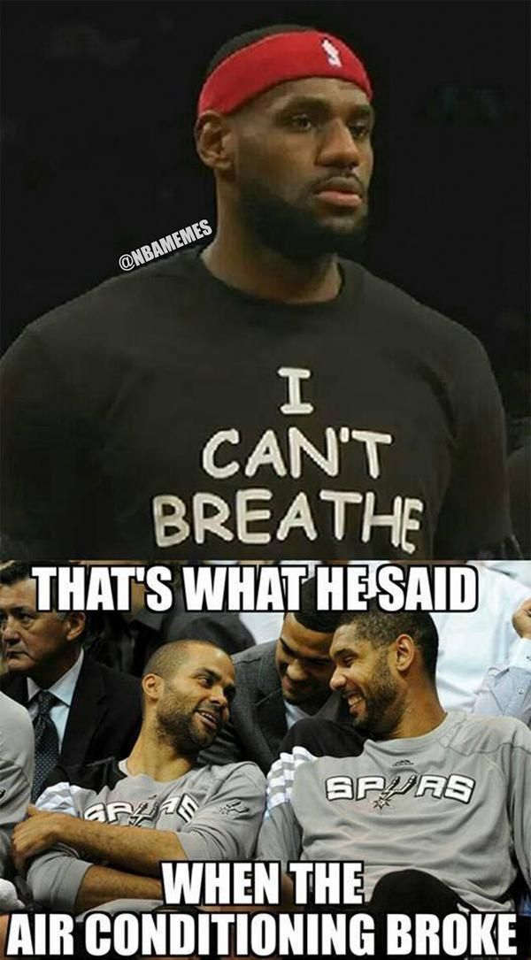 San Antonio Spurs react to LeBron James' #ICantBreathe shirt! #EricGarner. LOL - http://nbafunnymeme.com/nba-memes/tweet-from-nbamemes-32