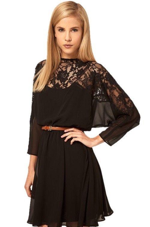 Grey Plain Hollow-out Half Sleeve Chiffon Dress